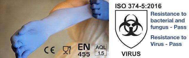 Štandard EN 374-5:2016 VIRUS na rukaviciach ABENA